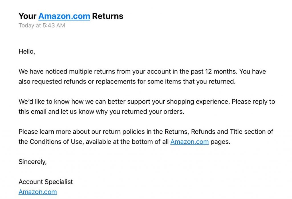 amazon account closure